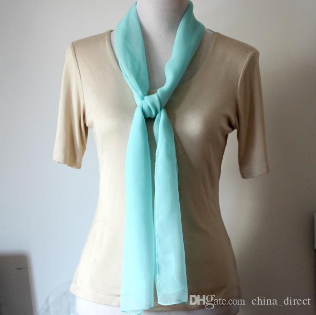 Mädchen Frauen feste Ebene Maulbeere Georgette Seidenschal lange Schals Halstücher Geschenk Zubehör 160 * 32cm # 4079