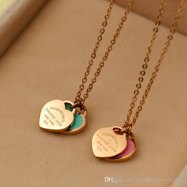 الحب إلى الأبد ارتفع مزدوجة المحبة قلادة القلب 18K الذهب قصير اللون مزيج سلسلة الترقوة أو إرضاء اللون مذكرة