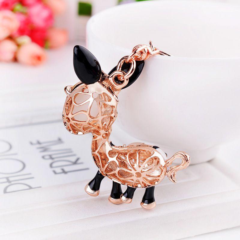 Fashion jewelry Cartoon donkey car keychain ladies cat's eye small gift merchandise pendant