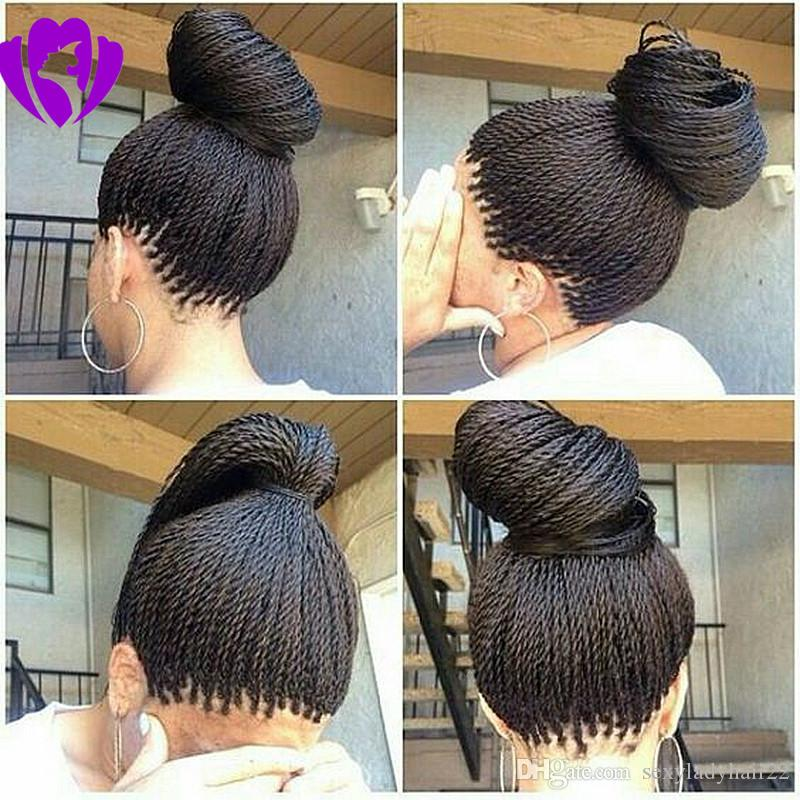 150density synthetic micro box braid lace front wig long Brazilian havana twist wig for african american black woman with baby hair