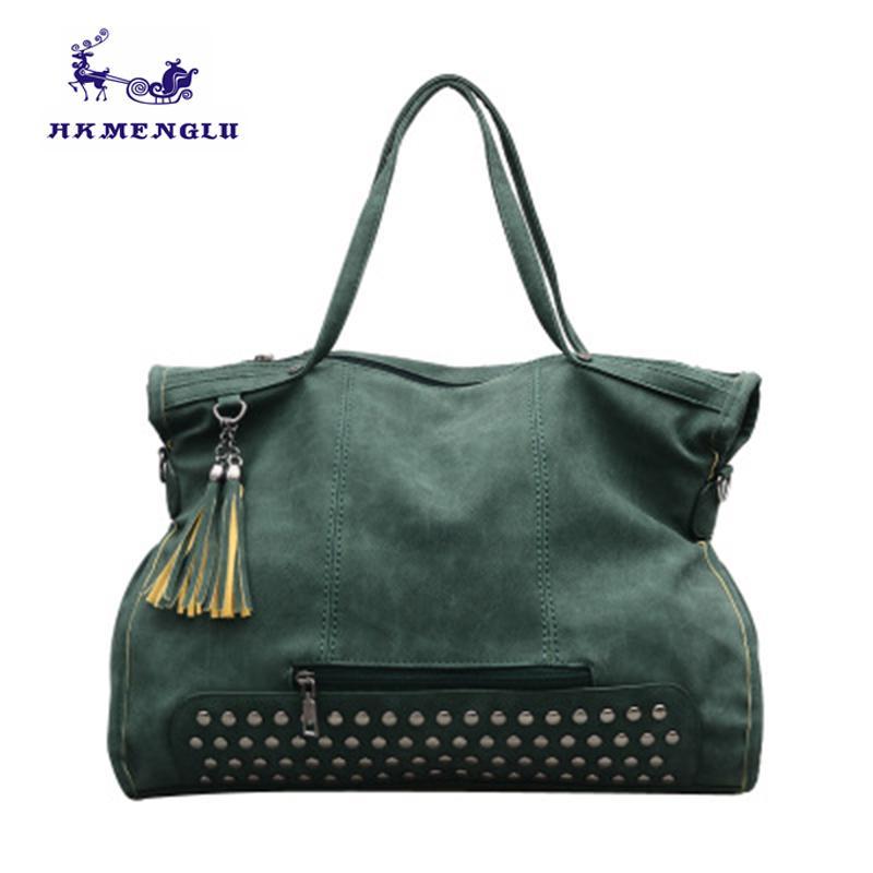 c77c3270fbe6 2018 Rivet Vintage Female Handbag Fashion Tassel Messenger Bag Vintage  Women Shoulder Bag Ladies Hand Sholder 0217 Shoulder Bags Cheap Shoulder  Bags 2018 ...