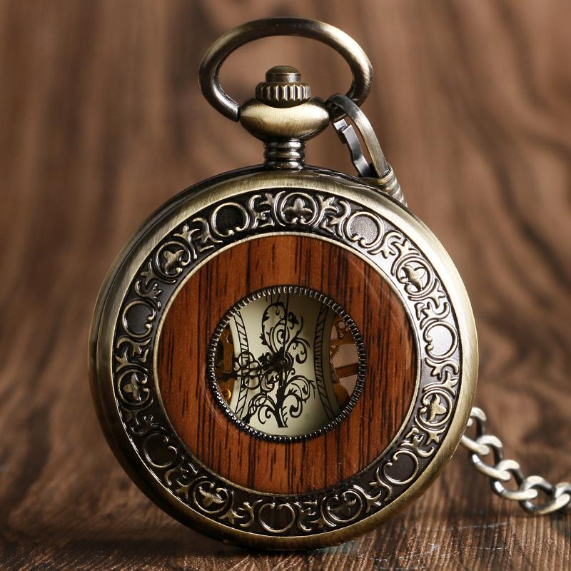 Steampunk Men Hollow Skeleton Mechanical Pocket Watch Vintage Wood Look Dial Antique Fob Chain Pendant Clock Men Women Gifts
