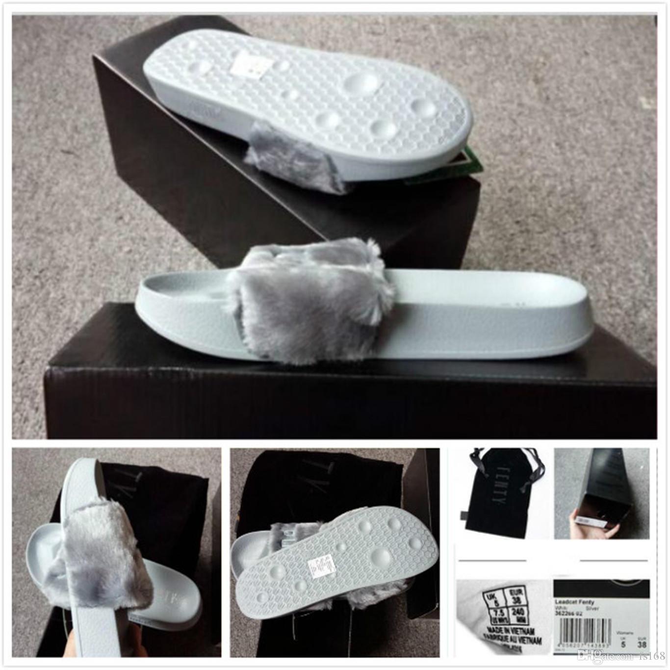 47ebdb7bcca1 Free Delivery Leadcat Fenty Rihanna Faux Fur Slippers Women Girls ...
