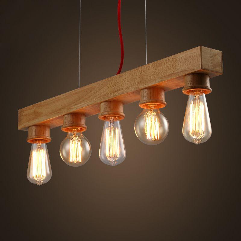 Grosshandel Europaische Vintage Loft Holz Pendelleuchte Lampe