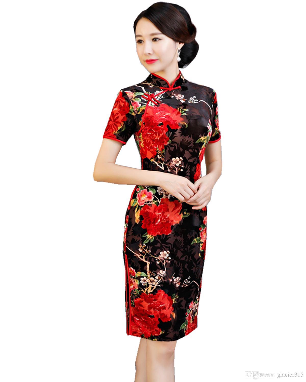 Cheongsams Charming Retro Chinese Women Autumn Winter Velour Cheongsam Dress Qipao Long Party Wear Cheongsams Dresses For Women Lady Big Clearance Sale Traditional & Cultural Wear