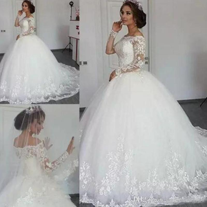 77e40299381 2018 Luxury Lace Ball Gown Wedding Dresses Off Shoulder Long Sleeve Sweep  Train Bridal Gowns With Lace Applique Plus Size Wedding Gowns Lace Wedding  Gowns ...