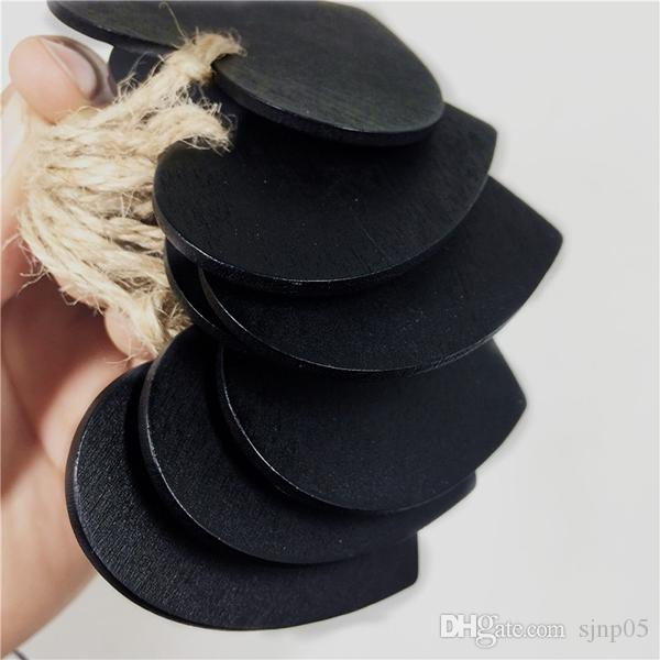 Mini Appeso Lavagna Memo Tag Cuore Forma rotonda Messaggio Lavagna Lavagna in legno Decorazione fai da te Artigianato in legno