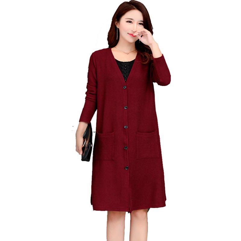 différemment 68c79 61528 New 2017 Autumn Winter Women Plus Size 4XL 5XL Long Loose Knitted Cardigan  Coat Women Pull Femme Oversized Cardigans 60