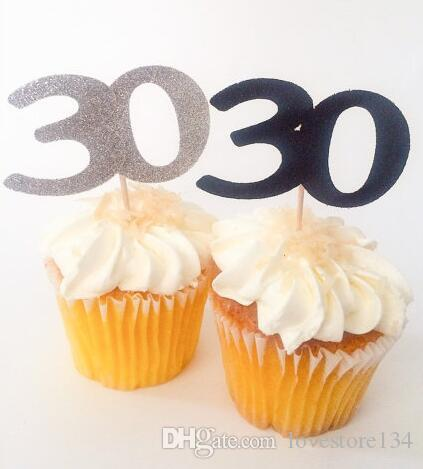 Custom Number Glitter 30th 40th 50th 60th Birthday Cupcake Toppers Baptism Christening Party Decoration Doughnut Food Picks Decorations For A
