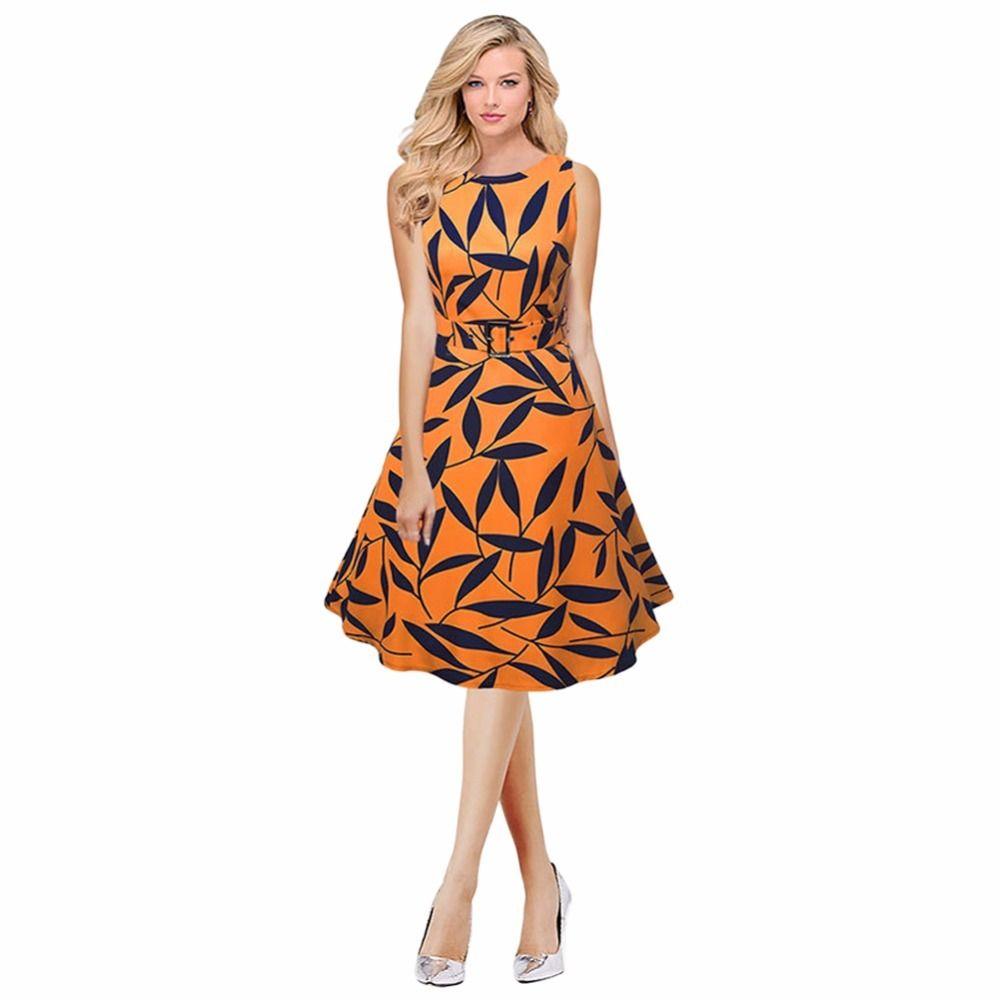 cff03eb0c5da 2019 Women Leaf Print 50s 60s Sleeveless Retro Dress Vintage Rockabilly  Party Swing Dress Black Yellow Elegant A Line Dress Womens Long T Shirt  Dress Casual ...