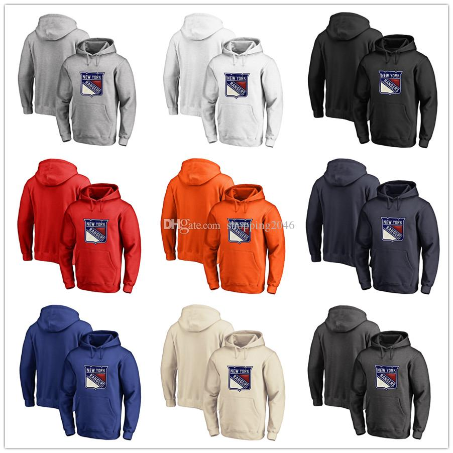 half off d25e3 e1423 Men's New York Rangers Fanatics Branded Black Ash White Red Orange  embroidery Primary Logo Pullover Hoodies long Sleeve Outdoor wear