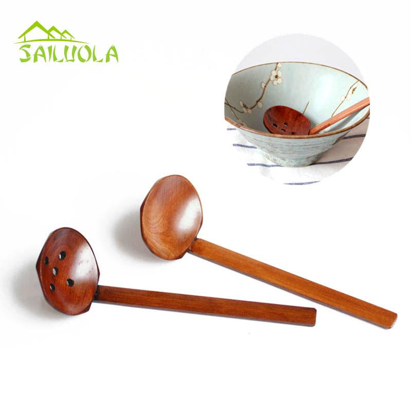2pcslot Large Wooden Spoon Set Soup Ladle Japanese Soup Spoons For Ajisen Ramen Wood Colander Kitchen Tools Accessories