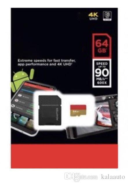 블랙 안드로이드 64GB 32GB 클래스 10 무료 SD 어댑터 소매 블래스터 패키지 Epacket DHL 무료 배송