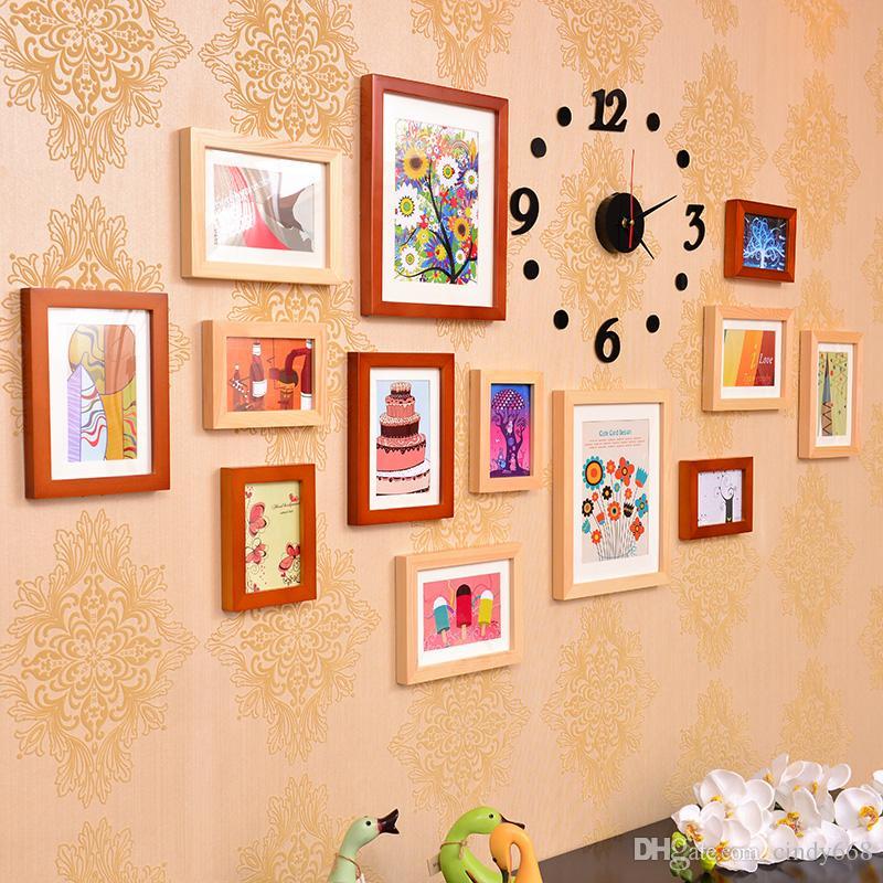 Großhandel Modern Style 13 Stück Bilderrahmen Mit Uhr Wand ...