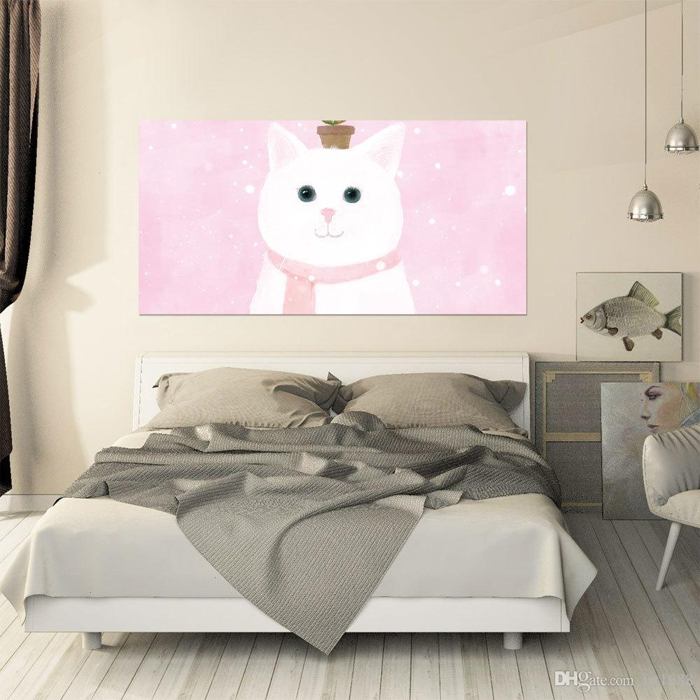 Cartoon Design 3D Cute Cat Bedroom Headboard Stickers Vinyl Decal lovely Style Art Wall Mural Girls Room Bed Decor Home Decor