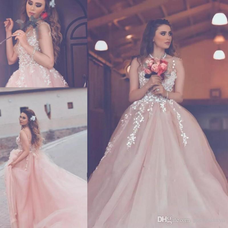 c37dbf424f7 Discount 2018 Blush Pink Plus Size Beach Wedding Dresses A Line V Neck  Backless Tulle Country Bridal Gowns Arabic 3D Floral Appliques Party Dress  A Line ...