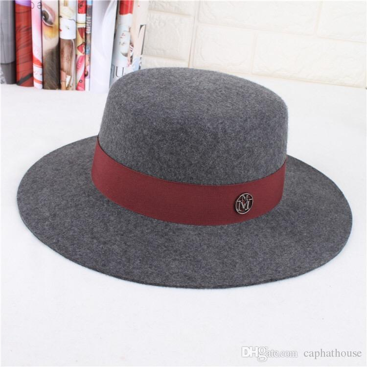 winter new fashion woman and man wool top wide brim hat grey color M label free shipping