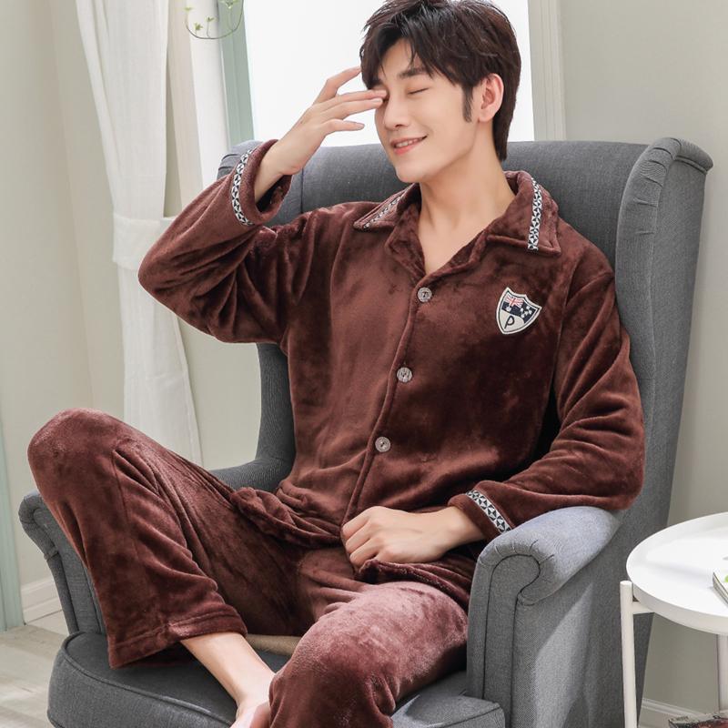 323ab9473 Compre Yuzhenli 2018 Outono Inverno Camisola Flanela Roupas Masculinas Mens  Pijama Set Plus Size Pijama De Manga Longa Pijama Hombre 3XL De Bunnier
