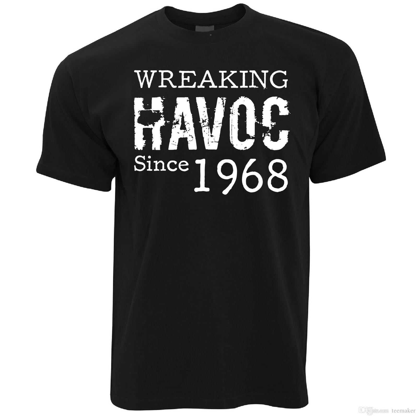 50th Birthday T Shirt Wreaking Havoc Since 1968 Gift Idea Tees MenS Design Custom Short Sleeve 3XL Couple Shirts One Tee A Day Random Graphic