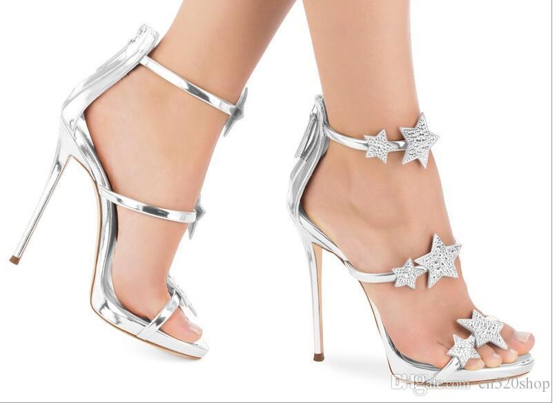 6d831f66b78 Women High Heels Sandals 2018 Summer Style Star Decoration Silver Wedding  Party Dress Shoes Open Toes Women Pumps Sexy High Heels Sandals Skechers  Sandals ...