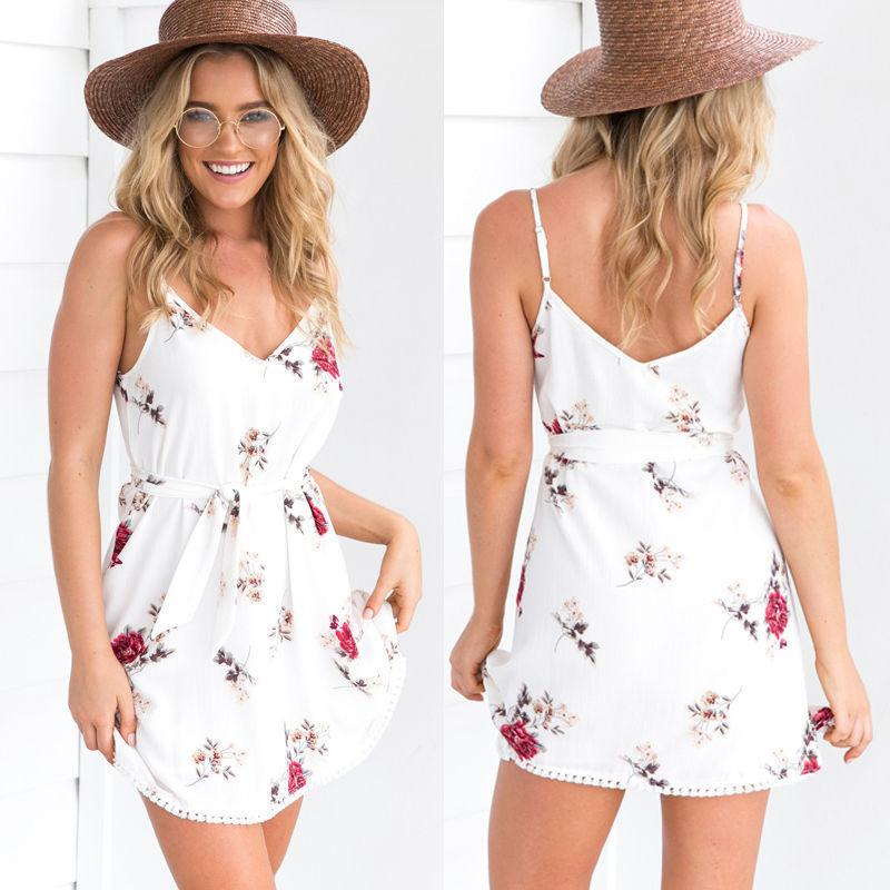 e2fd5f99ab78 Women Boho Holiday Strappy Floral Mini Dress Beach Sundress Party Short  Dress Sleeveless 2019 Summer Style Floral Dresses For Sale White Dress  Woman From ...