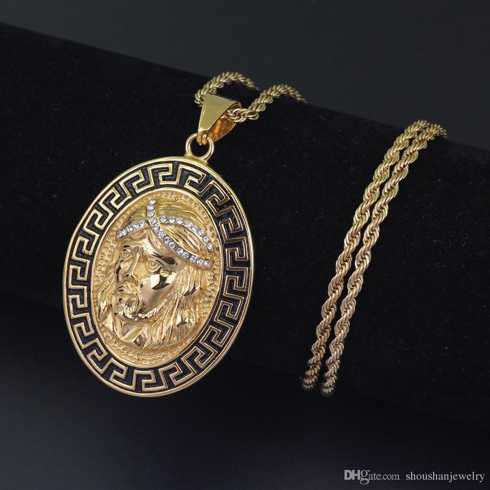 Edelstahl Schmuck Hip Hop Jesus Anhänger Halskette mit 3mm 24-Zoll-Seilkette SN118