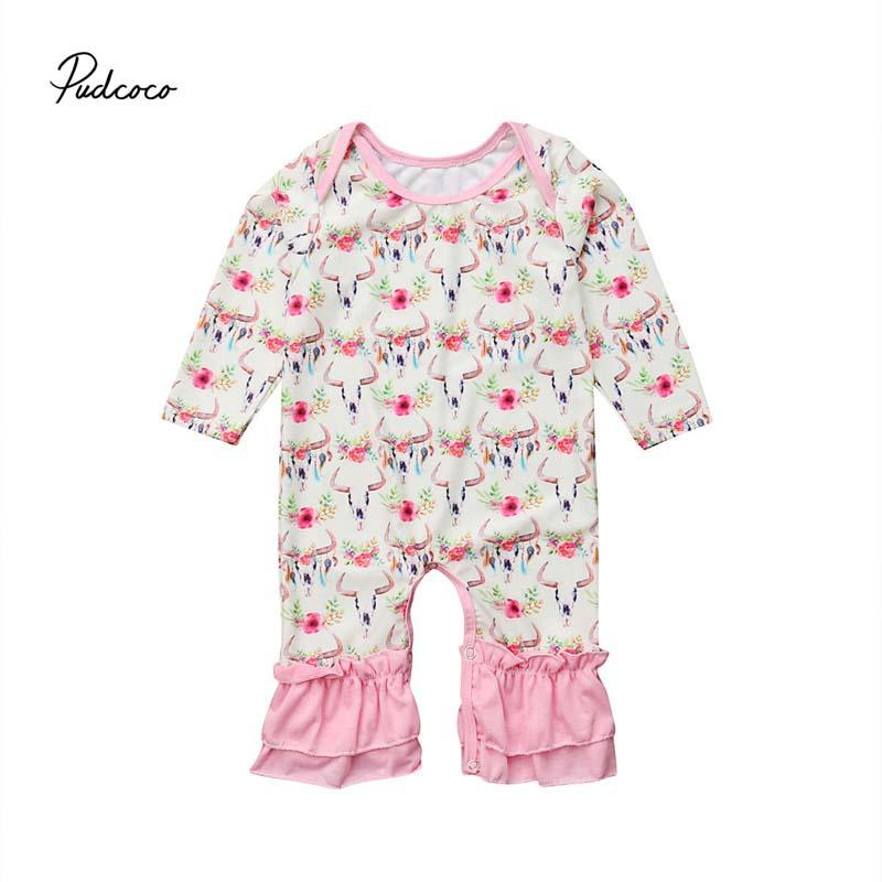 61e56fc63 2019 Pudcoco Baby Floral Rompers Newborn Infant Baby Girls Deer Long ...