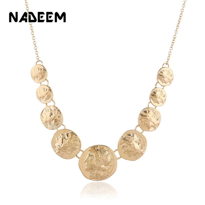 Fashion Ancient Greek Jewelry Vintage Figure Design Round Charm Alloy Aztec  Multi Coin Pendant Necklace For Women Lover Gift
