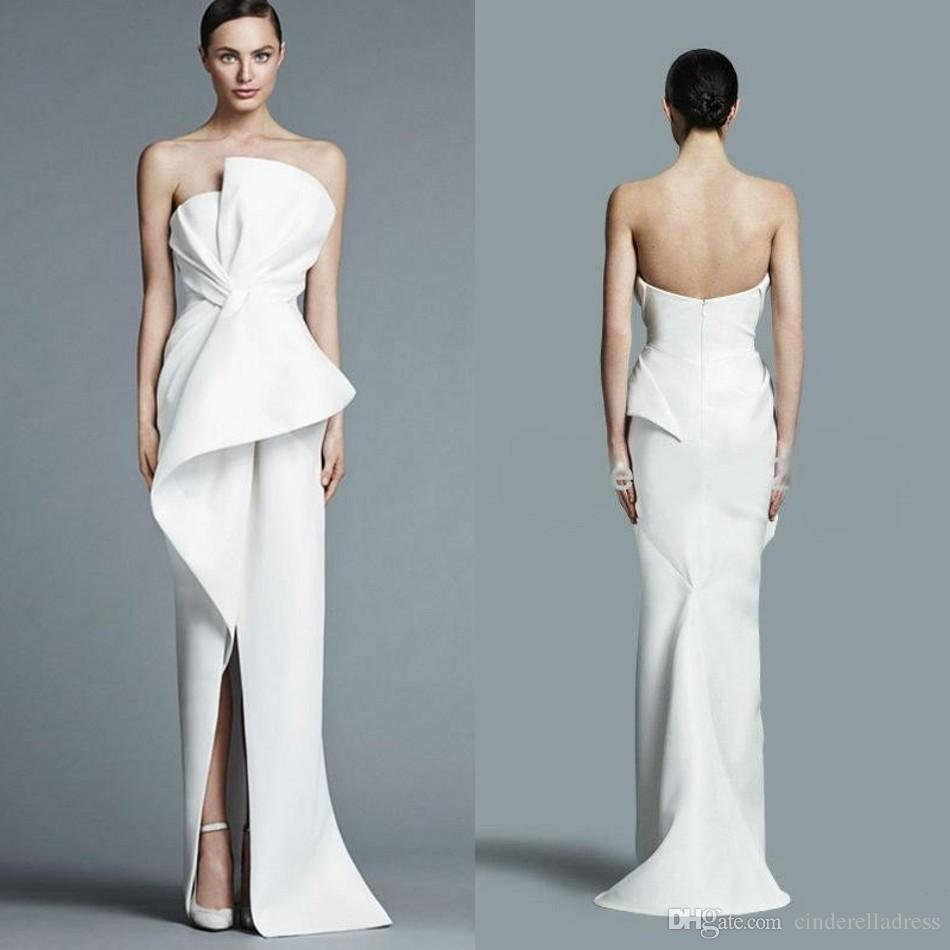 Unique Strapless White Evening Gowns 2018 Floor Length Fashion With ...