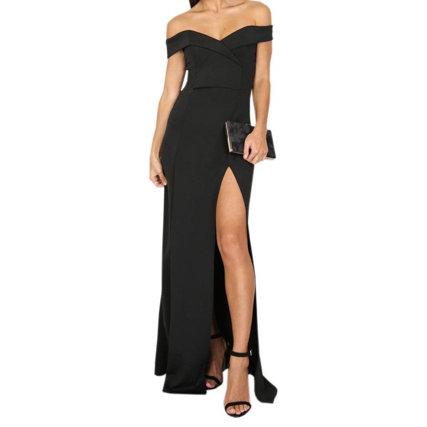 a4939ebaea6e Off Shoulder Sexy Split Maxi Dress Ladies Elegant Women Slash Neck Long  Dresses Plus Size Femme Party Robe GV835 Cute White Summer Dresses Clothing  Dresses ...