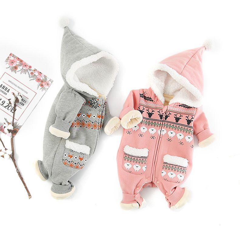 6082f0323c53 Baby Kids Clothing Romper Infant Kids Deer Design Hoodies Long ...