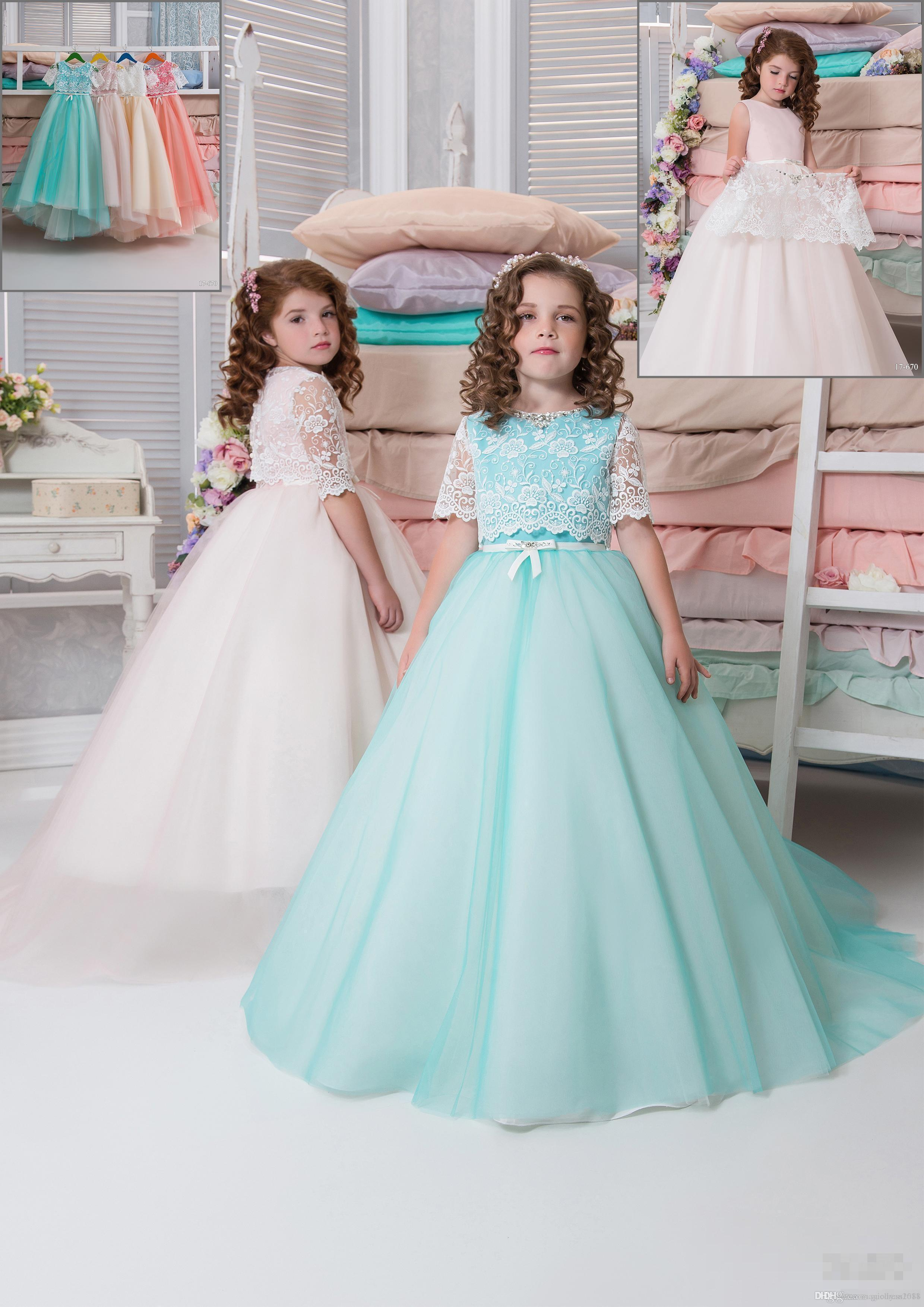 Dos piezas de vestidos de niña de flores de encaje 2019 árabe Vestidos de niño de época Vestidos de novia hermosos de niña de flores baratos