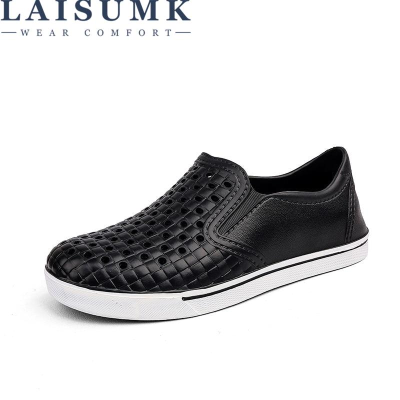 LAISUMK Comfortable Men s Sandals Slip On Garden Clogs Pool Beach Water  Hollow Shoes Men Casual Work Medical Breathable Light Sandles Wedge Booties  From ... 0cb2a13951e