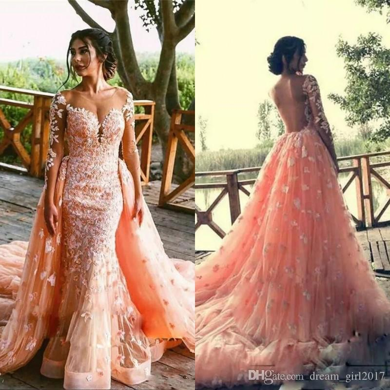 Sexy Overskrit Prom Dresses Mermaid Sheer V Neck Illusion Long Sleeves Evening Gowns Appliques Backless Bridal Dress Detachable Train Formal