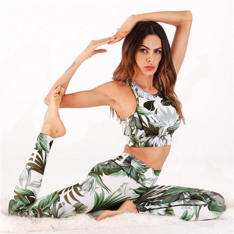 Wholesale Women Fashion Floral Printing Sports Fitness Bra And Leggings Yoga Wear Clothing Set