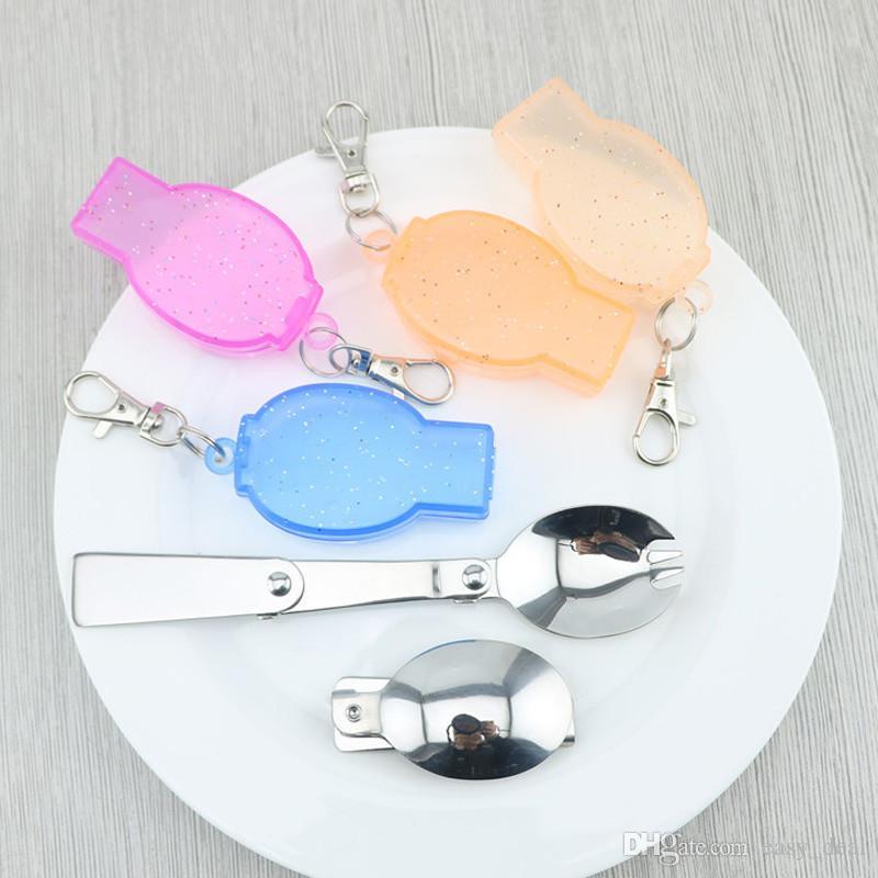 Портативный складной столовая ложка кемпинг выживания набор открытый пикник посуда с пластиковым держателем LZ1884