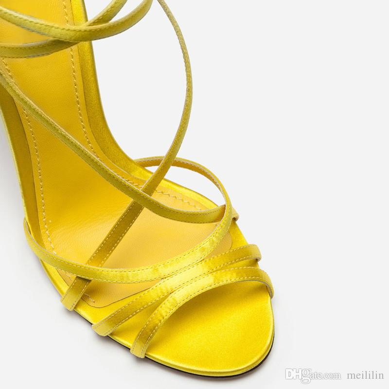 Handmade upmarket butterfly flower stiletto women shoes summer cross buckle band yellow satin sexy high heels ladies shoes