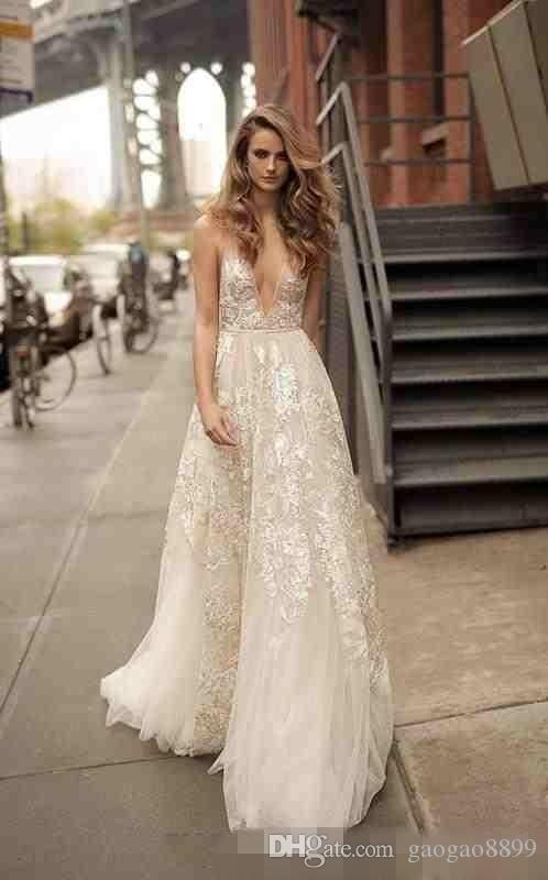 2019 Summer Berta Boho Beach Lace Wedding Dresses Bridal Gowns V Neck Open Back A Line Floral Long Spaghetti Straps