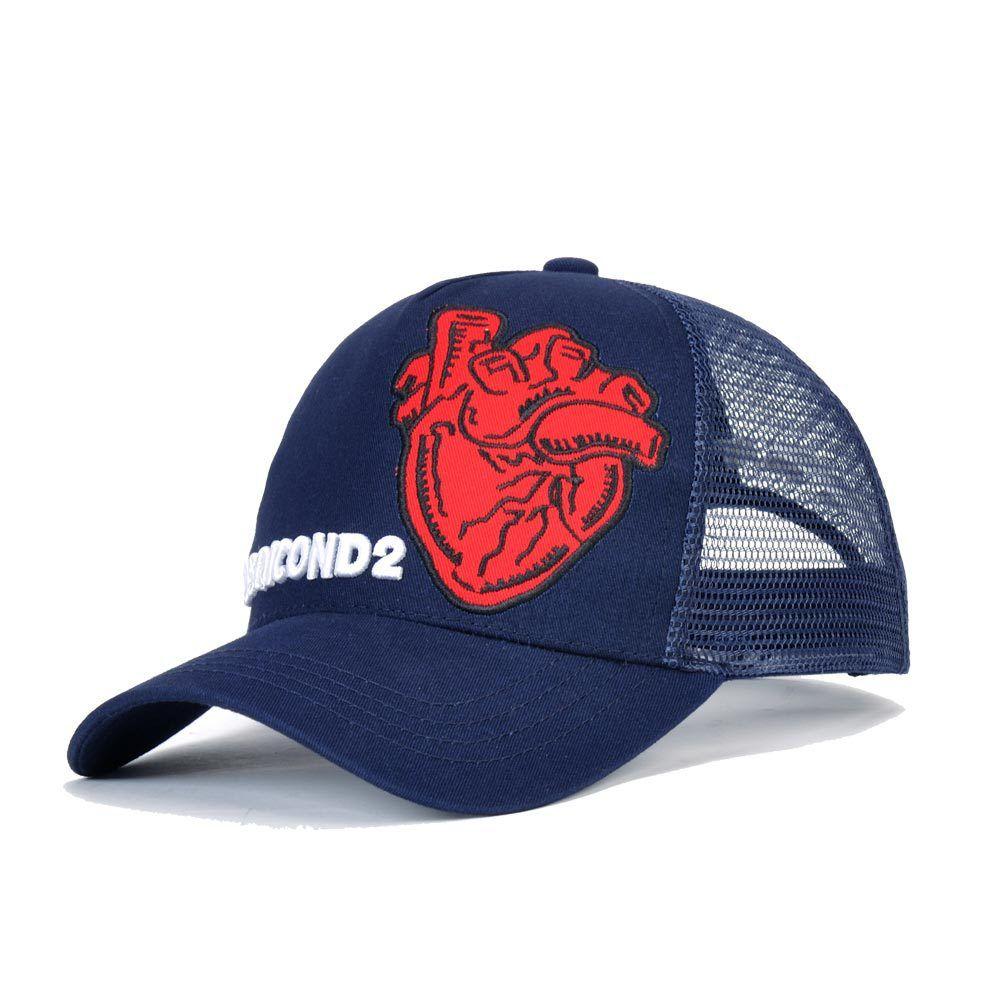 257557be841c7 DSQICOND2 Mesh Caps Heart Pattern Popular Baseball Cap Women Men ...