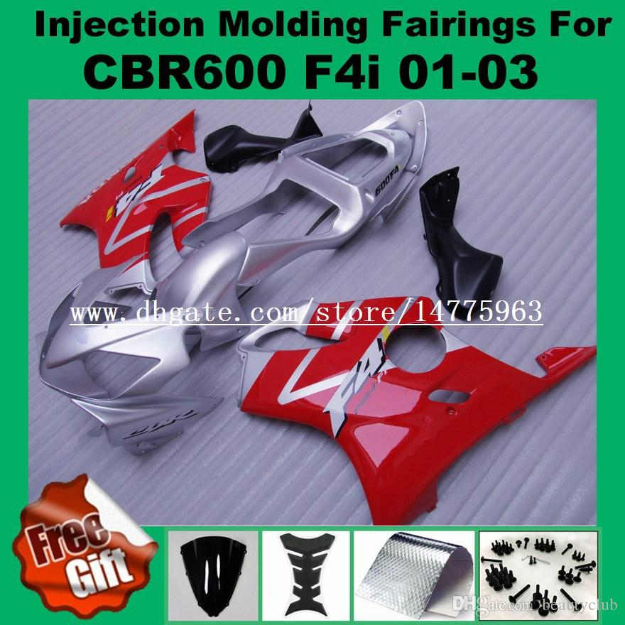Red silver Injection fairings For F4i HONDA CBR600F4i CBR600RR 01 02 03 CBR 600 F4i CBR 600F4i 2001 2002 2003 Fairing kits #551L0