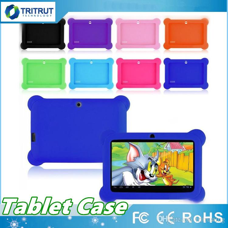 Anti Dust Kids Child Soft Silicone Rubber Gel Case Cover For 7 Inch Q88 Q8 A33 A23 Android Tablet pc MID Free shipping MQ100