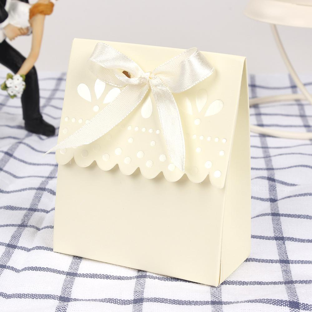 Small Wedding Favor Box Candy Box Scalloped-Edge Ivory Wedding Party ...