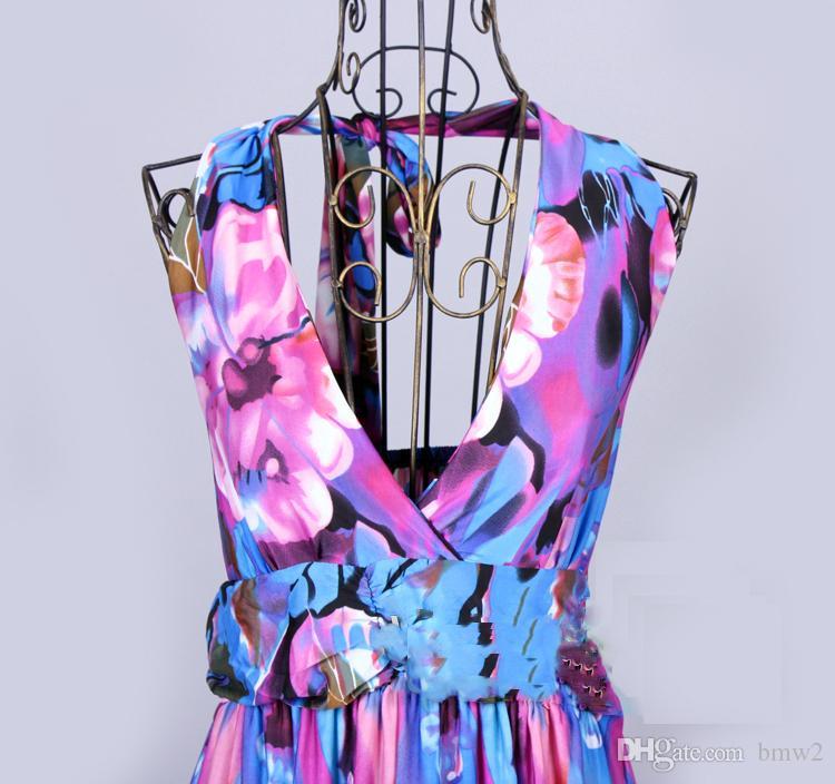 Лето богемный длинные цветочные платья Ice Шелковый Холтер шеи 6XL плюс размер платья макси 2020 Сексуальная спинки женщины пляж Boho свадебные платья
