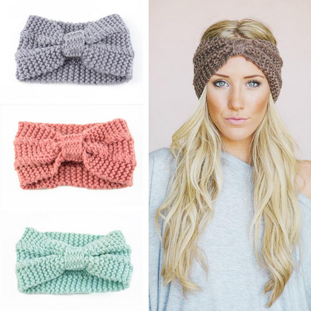55c5bbc55f5 Women Winter Solid Big Bow Fish Knit Wool Headband Fashion Girl Warm Woolen  Crochet Turban Handmade Bow Knot Wide Head Wrap Hair Bows For Babies Bows  For ...