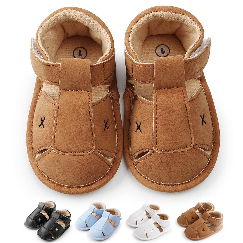 1277dfaf3 Summer Baby Boys Sandals Prewalker Toddler Kids Soft Sole Crib First  Walkers Leather Baby Shoes Newborn Brown Black White Cute Girl Shoes Little  Boys ...
