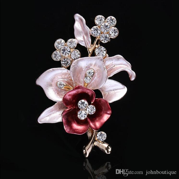Elegant women Drip Crystal Flower brooches pins romantic brooches for women wedding party hijab pins bridal pins