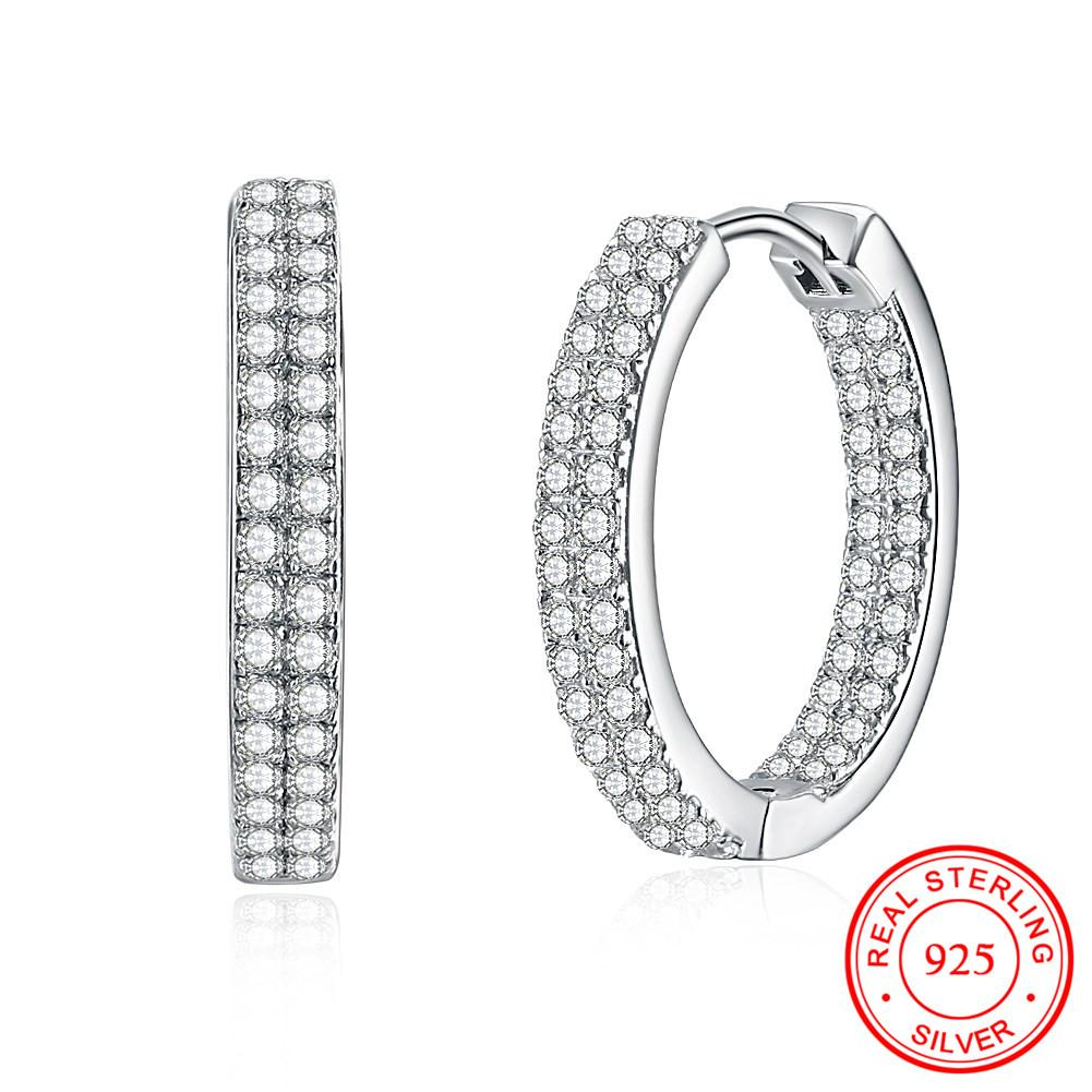 76127bc20 Real 100% 925 Sterling Silver Round Shaped Hoop Earrings with Shiny ...