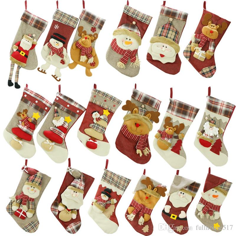 Christmas Stockings Big Size Christmas Hanging Stocking Santa Snowman  Reindeer Xmas Character Fireplace Holders Gift Bag Party Decorations