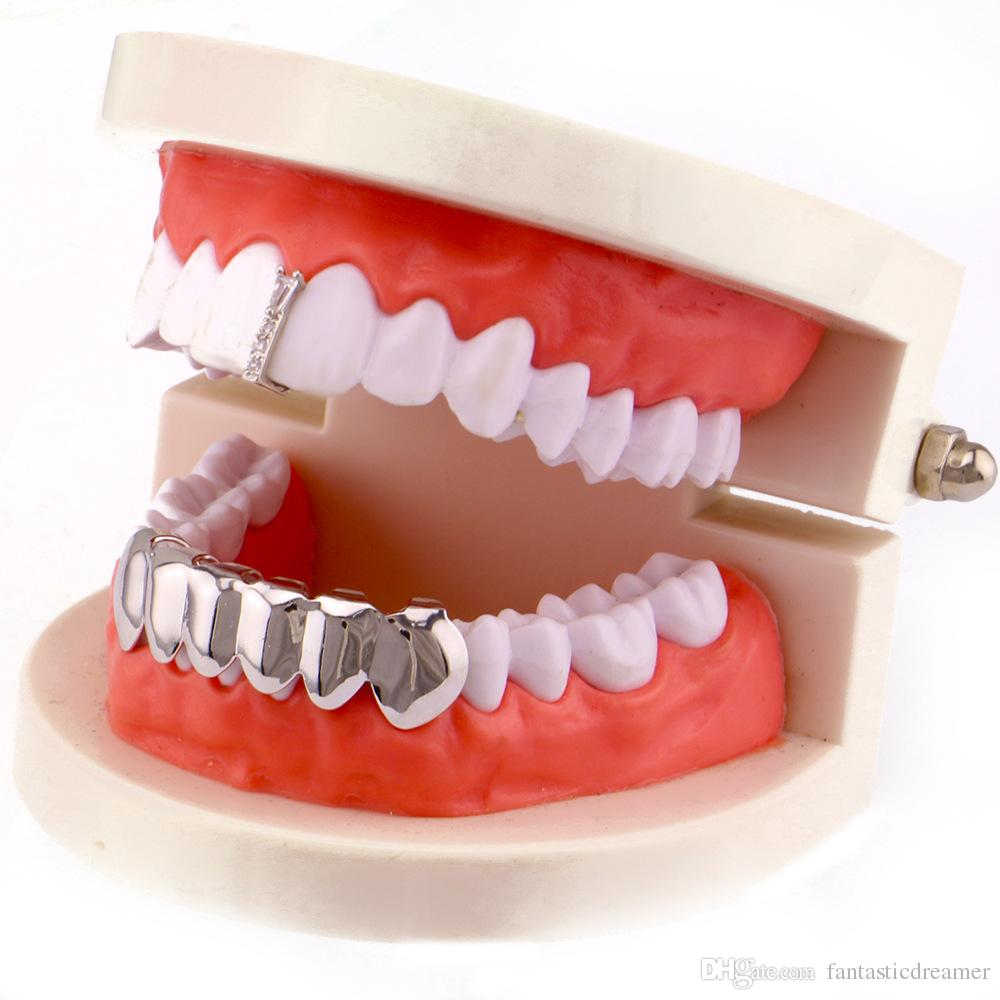 Factory Bottom Price Teeth Grillz Men Copper Jewelry Hip Hop Grillz Real Gold Plated Accesory Dental Grills Wholesale Halloween Vampire Gift