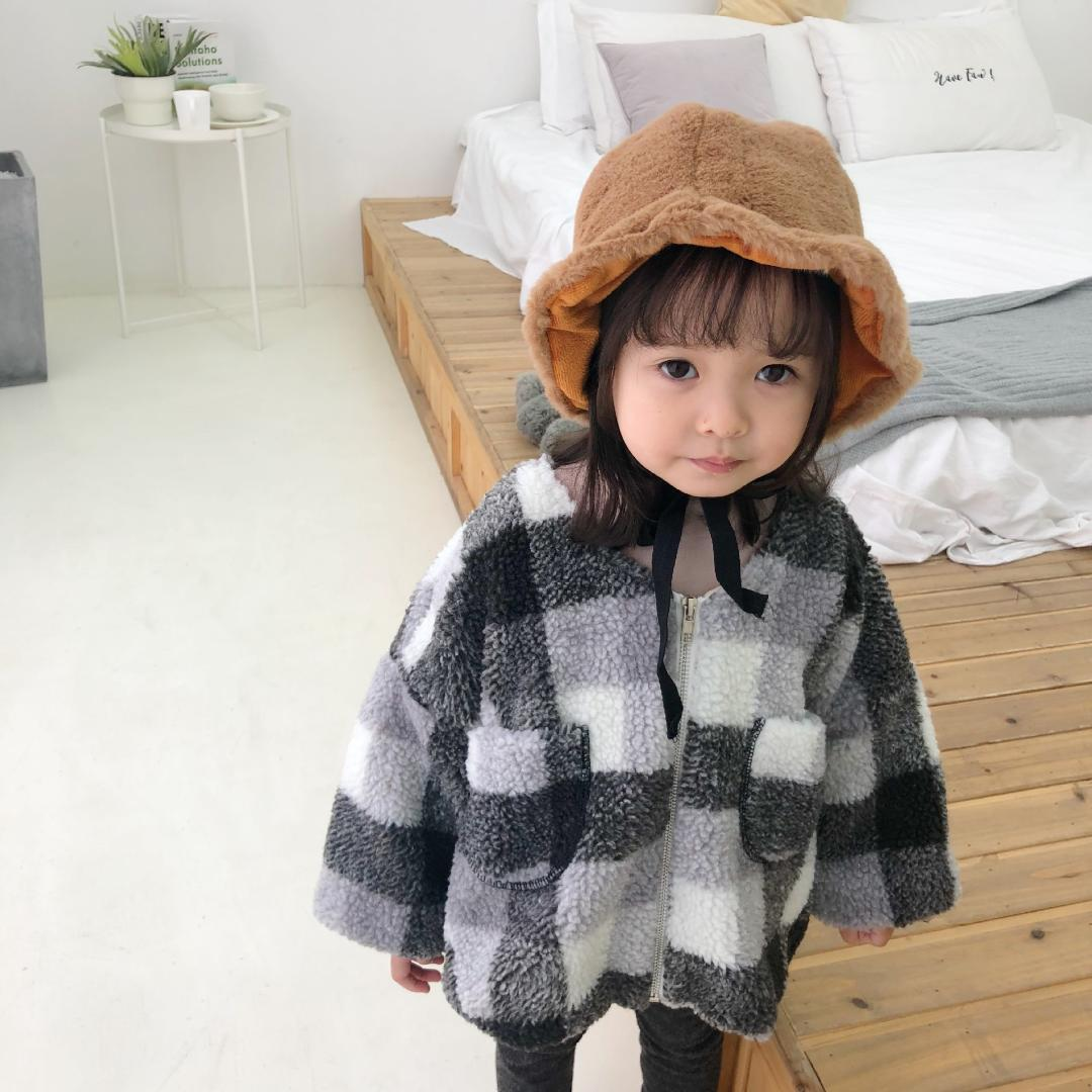f2bca494cf68 Winter Baby Girls Berber Fleece Thicken Zipper Plaid Coats Baby Boys ...